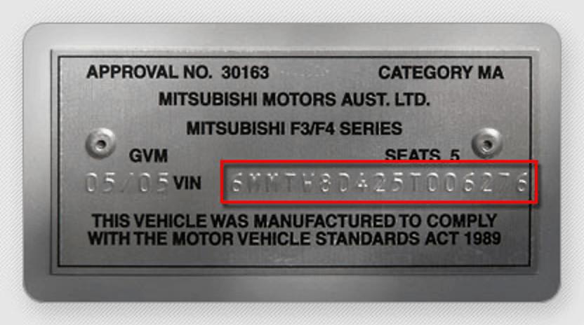 Chassisnummer Voorbeeld